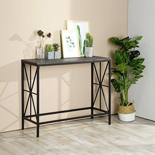 Mesa consola de madera, mesa auxiliar para salón, pasillo, almacenamiento para la entrada, estilo retro, 100 x 38 x 80 cm, color marrón