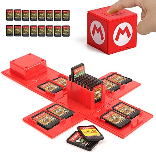 Nintendo Switch Game Card Case, Game Card Holder for Nintendo Switch Games with 16 Slots (Mario RED)