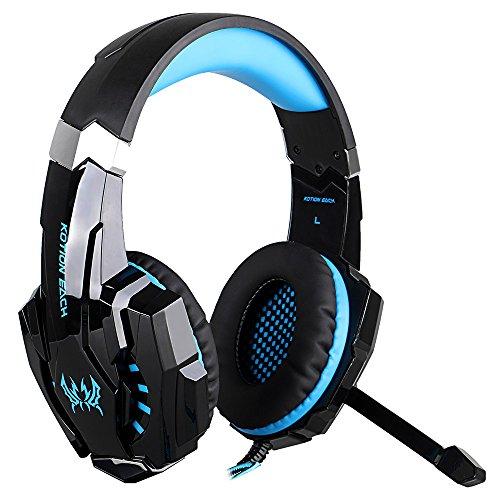 docooler KOTION EACH G9000 3,5 mm Spiel-Kopfhörer Spiel-Kopfhörer Noise Cancellation Kopfhörer mit Mikrofon LED-Licht Schwarz-Blau für PS4 Laptop Tablet Mobile Phones