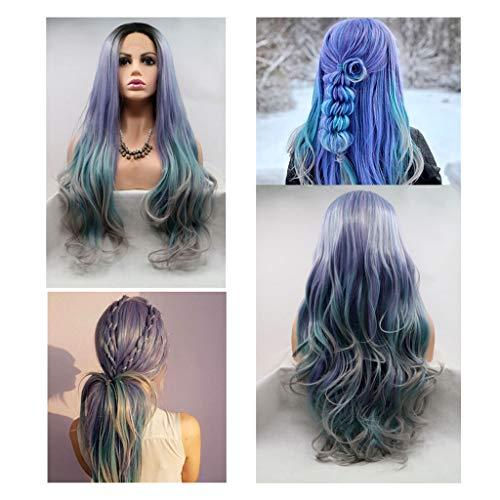 TINGSHOP 24Inch Bleu Violet Longues Perruques De Cheveux Synthétiques Vague Couche pour Les Filles Mesdames Femme Anime Cosplay Party Carnival Costume