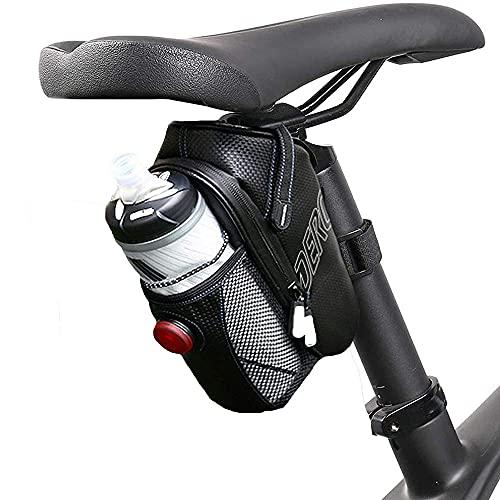 VUENICEE Satteltasche Wasserdicht,Satteltaschen für Fahrrad,Fahrrad Satteltaschen Wasserdicht,mit Licht(DREI Modi),Wasserflaschen Beutel,Fahrradtasche für Mountainbike MTB