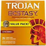 Trojan Ultra Ribbed Ecstasy Lubricated Condoms - 26 Count (Packaging May Vary)