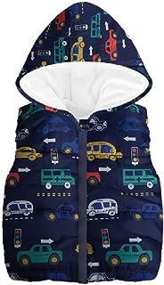 FEITONG Toddler Kids Girls Boys Sleeveless Cartoon Car Hooded Zipper Warm Waistcoat Jacket