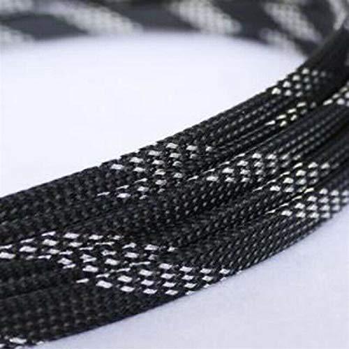Cable Tidy Sleeves, Longitud de cable 1-50M mangas de piel de serpiente La protección de malla de alambre, nylon apretado PET ampliable recubrimientos aislantes trenzado mangas, Negro y Plata