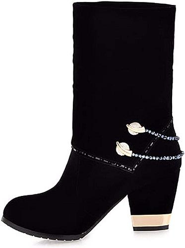 HBDLH Chaussures pour Femmes Le Velours des Talons Hauts épais Et Blanchatre à Court De Bottes Bottes Un Diahommet De Perles des Bottes des Bottes pour Femmes 8