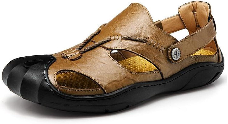 MuMa Men's shoes Sandals,Summer Outdoor shoes ,Men Leather Sandals Closed Toe Comfy Footwear Fashion Beach (color   Khaki, Size   EU41 UK7.5-8 CN42)