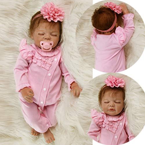 ZIYIUI 22 Pouces 55 cm poupée Reborn Réaliste Bébé Reborn Poupée à la Main Nouveau-né Fille...