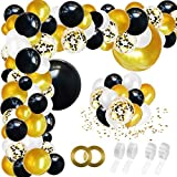 RUBFAC Black Gold Balloon Garland Arch Kit 192pcs with Confetti White Gold Black Balloons for Birthday Wedding Shower Graduation and Celebration Decorations