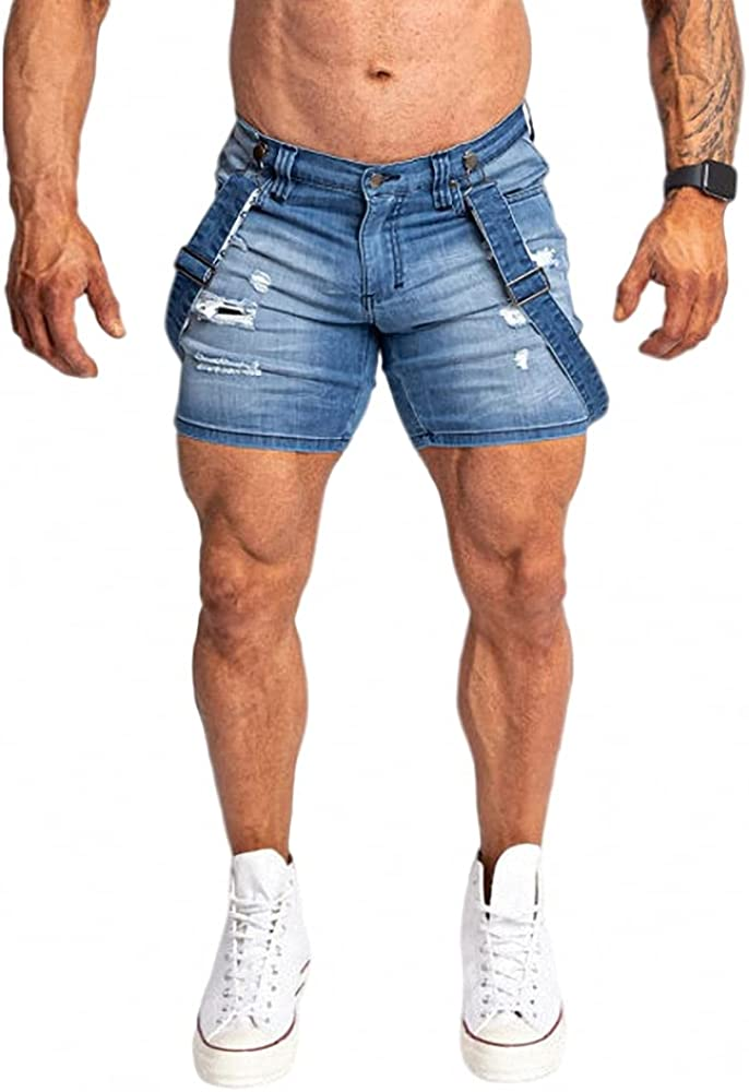 Men's Ripped Denim Skinny Slim Fit Max 76% OFF Ranking TOP8 Dis Shorts Overalls Destroyed