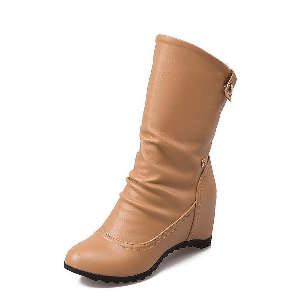 ベアリング良心的方法論(オールエイチキューファッション) AllhqFashion レディース PUの皮 プルオン ラウンドトゥ ハイヒール ミッドカーフ丈 ブーツ FBUXC054798
