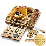 Eco Life Kitchen Un Set per Formaggio e Posate Premium (Oltre ad Una Confezione di Alta qualità). Un Piatto di bambù Unico e Vassoio da Portata per Cracker, Vino, Brie e Carne.