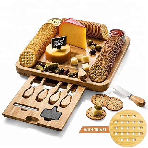 Eco Life Kitchen Premium Käsebrett und Besteck Set (inkl. hochwertiger, schöner Verpackung). Einzigartige Bambusplatte und Serviertablett für Cracker, Wein, Brie und Fleisch Anlass!