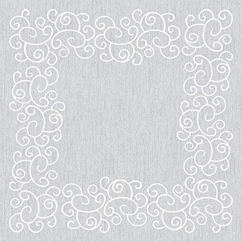 Mank Tischdecken aus Airlaid   Mitteldecken 80 x 80 cm Tischdecke für Gastronomie   20 Stück   Flow (Weiß-Grau)