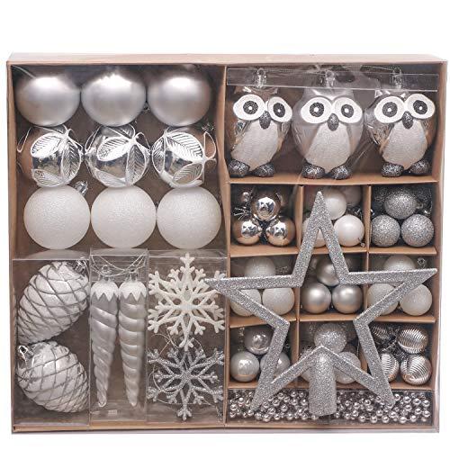 Valery Madelyn クリスマス オーナメント セット 90個入り 銀白色 北欧風 ボールクリスマス ツリー 飾り 飾り付け おしゃれ ゴージャス