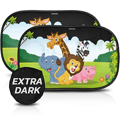 CARAMAZ Sonnenschutz Auto Baby mit Zertifiziertem UV Schutz - extra dunkel 51x31cm - 2 Stück selbsthaftende Sonnenblende Auto Kinder - Sonnenblende Auto Baby -Auto Fenster Sonnenschutz Safari