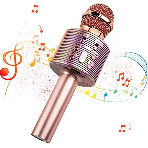 Micrófono Inalámbrico Bluetooth Karaoke, 4 en1 Microfono Karaoke Portatil con Baile de Luces LED para Niños Cantar, Función de Eco,Compatible con AUX o Android/iOS Teléfono Inteligente