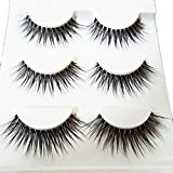 Bluelans 3 Pairs Long Cross False Eyelashes Makeup Natural 3D Fake Thick Black Eye Lashes (3D-25)