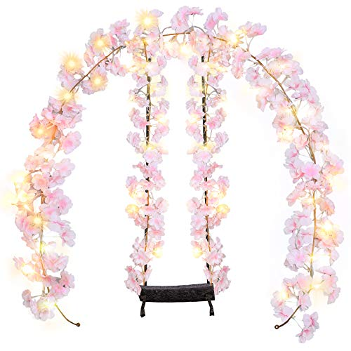2 Pieces Artificial Cherry Blossom Garlands Artificial Flowers Plants Hanging Vine Garland with 2 Pieces Warm 20 LEDs String Lights for Hotel Wedding Home Party Garden Craft Art Decor USB Powered