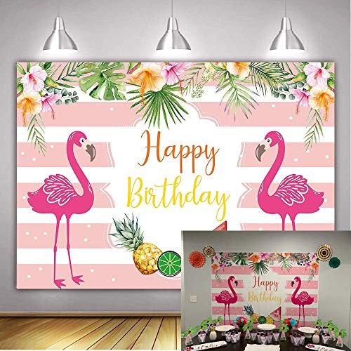 Daniu Pink Flamingo Sfondo Rosa e bianco Stripes Fiori Birthday Party Fondale Tropical Flower Plant Girl Tea Party Decor Baby Shower Fondali per Fotografia Photo Studio Puntelli Vinyl 7x5FT