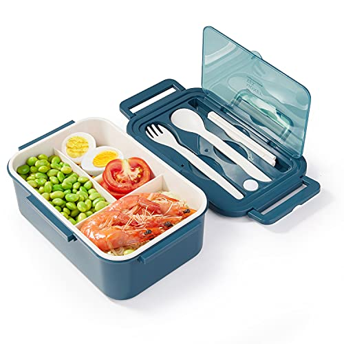 Porta Pranzo, Lunch Box Ermetico per Bambini e Adulti, Bento Box con 3 Scomparti e Posate (Forchetta e Cucchiaio), Portapranzo senza BPA, Lavabile in Microonde e Lavastoviglie - Blu