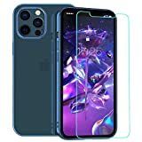 zelaxy Case Compatible with iPhone 12 Pro Max with Screen Protector,Crystal Clear Transparent Slim Hard Shell Luxury Protective Electroplated Cover Case for iPhone 12 Pro Max 6.7 inch (Navy Blue)