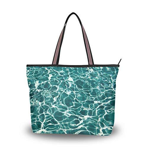 NaiiaN Umhängetaschen Geldbörse Shopping Handtaschen für Frauen Mädchen Damen Student Pool Wasser Patternfashion Einkaufstasche Leichter Gurt