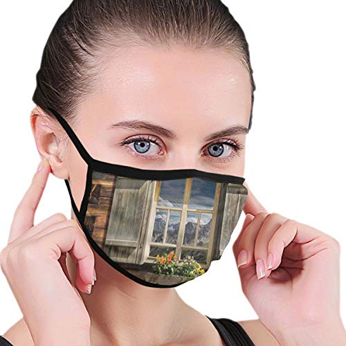 Fashion Mouth Cover Mouth-Muffle,Weathered Facade of A Mountain Hut with Summer Mountain Reflections On Window,Unisex Anti-Dust Face Mouth for Ski Cycling Camping