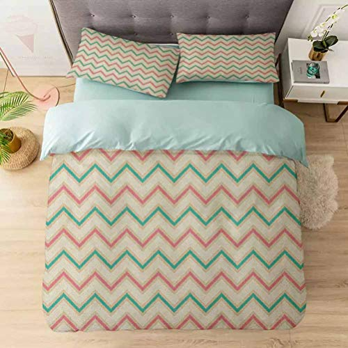 Aishare Store 3 Pieces Duvet Cover Set, Digital Chevron Forms with Technical Elements Old Military Insignia Prin, Printed Duvet Cover Set with Ultra-Soft Microfiber, Pink Cream Green