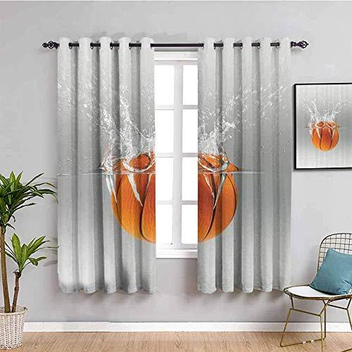 LHAOSIX cortinas opacas Baloncesto arte agua sencillez 280x245cm 3D Impresión Digital 2 Paneles Poliéster con Ojetes reducción de Ruido Suaves Salon Dormitorio Decoración Para Hogar