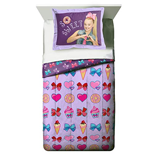 Nickelodeon JoJo Siwa Girls Twin Reversible Comforter Bedroom Set Pillow Sham Kids Home Decor Officially Licensed Fade Resistant Polyester Easy...