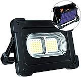 ERAY Luz de Trabajo, Foco LED Recargable 80W 6000 Lúmenes/Panel Solar/ 4 Modos de Iluminación/ IP65/ Batería Externa de 10000mAh/ Base Magnética, Ideal para Camping, Trabajo, Pesca, Color Negro