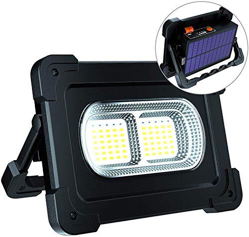 ERAY Luz de Trabajo, Foco LED Recargable 80W 6000 Lúmenes/Panel Solar/ 4 Modos de Iluminación/Batería Externa de 10000mAh/ Base Magnética, Ideal para Camping, Trabajo, Pesca, Color Negro