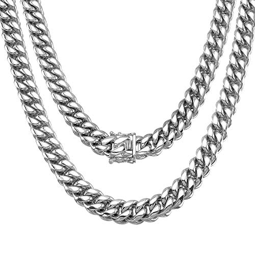 Jewelry Kingdom 1 Mens Necklace High Polished, Silver Chain Miami Cuban Link Chain 12MM for Men s Jewelry, Necklace for Women, 316L Stainless Steel(Necklace, 22 )