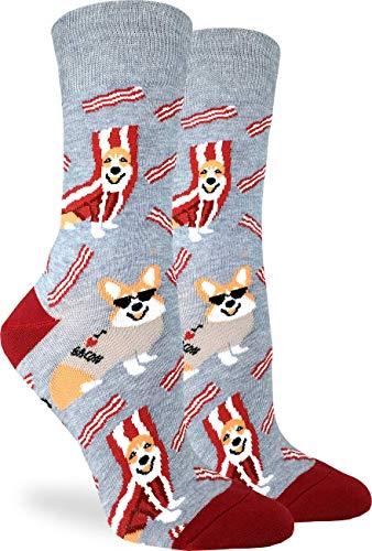 Good Luck Sock Women's Corgi Bacon Socks - Grey, Adult Shoe Size 5-9