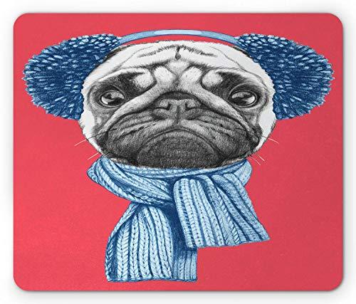 Pug Mouse Pad, Gedetailleerde hond tekening met sjaal oorkappen op donkere koraal achtergrond Animal Fun, muismat