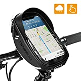 Bike Bicycle Phone Mount Bags - Waterproof Front Frame Top Tube Handlebar Bags with Touch Screen Phone Holder Case Sports Bicycle Bike Storage Bag Cycling Pack Fits iPhone 7 8 Plus xs max (Black)
