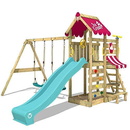 WICKEY Spielturm Klettergerüst VanillaFlyer Kletterturm Spielhaus auf Podest mit Doppelschaukel und Rutsche