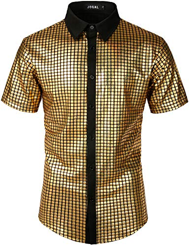 JOGAL Herren Pailletten Kleid Shirt 70er Disco Party Kustüm X-Large Gold