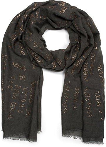 styleBREAKER unifarbener Schal mit Glitzer Metallic Schrift und Fransen, Tuch, Damen 01016151, Farbe:Schwarz