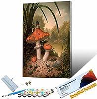 DIY油絵 植物-きのこ アクリル絵の具 数字 大人 子供 初心者 簡単なペイント番号キット キャンバスアートクラフト ホームデコレーション 30x45cm DIYフレーム