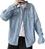 Jghsxdhg Men Cotton Ripped Distressed Retro Long Sleeve Denim Jeans Trucker Jacket