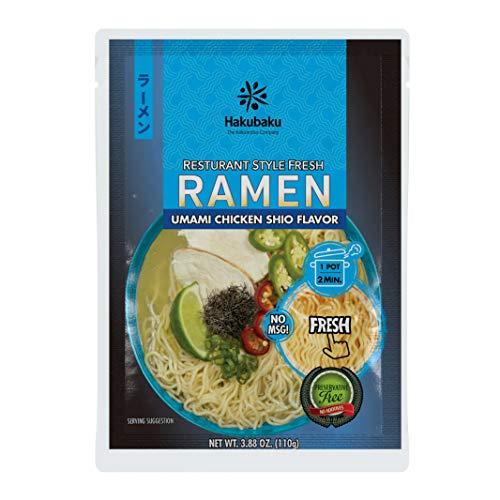 Hakubaku Fresh Ramen Umami Chicken Shio Flavor Japanese Restaurant-style fresh noodle soup, 3.88 oz...