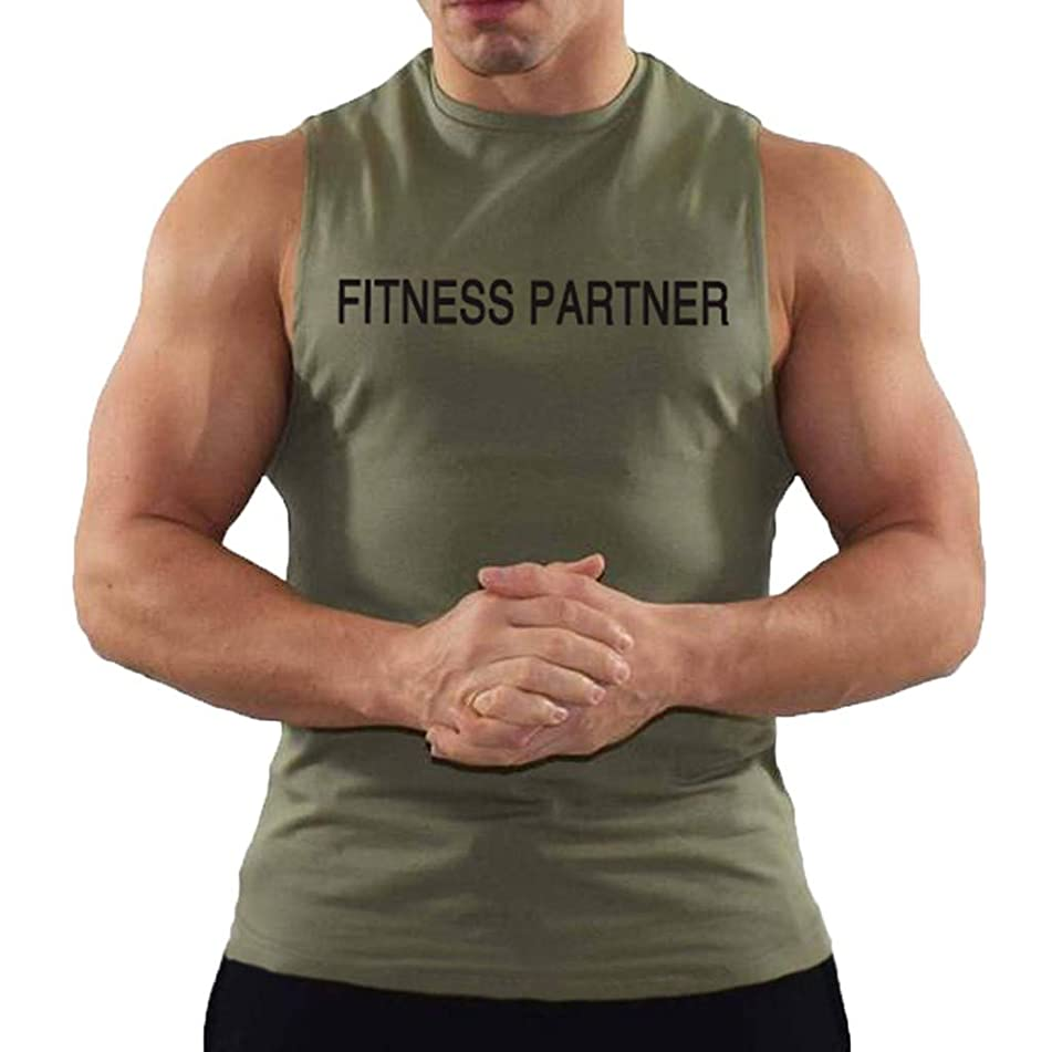 JJLIKER Mens Letter Print Sleeveless T-Shirt Bodybuilding Gym String Tank Tops Workout Fitness Vest Tees Blouse