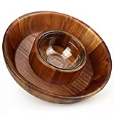 Miusco 10 Inch Chip and Dip Serving Set, Premium Acacia Wood with Glass Sauce Bowl, Appetizer & Snack Serving Platter, Great for Buffalo Wings & Cocktail Shrimp