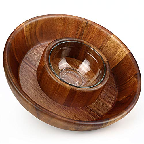 Miusco 10 Inch Natural Hard Wood Chip and Dip Serving Set, Snack Tray, Appetizer Serving Plate, Platter with Glass Sauce Dipping Bowl, for Cocktail Shrimp, Party, Game Day and Super Bowl