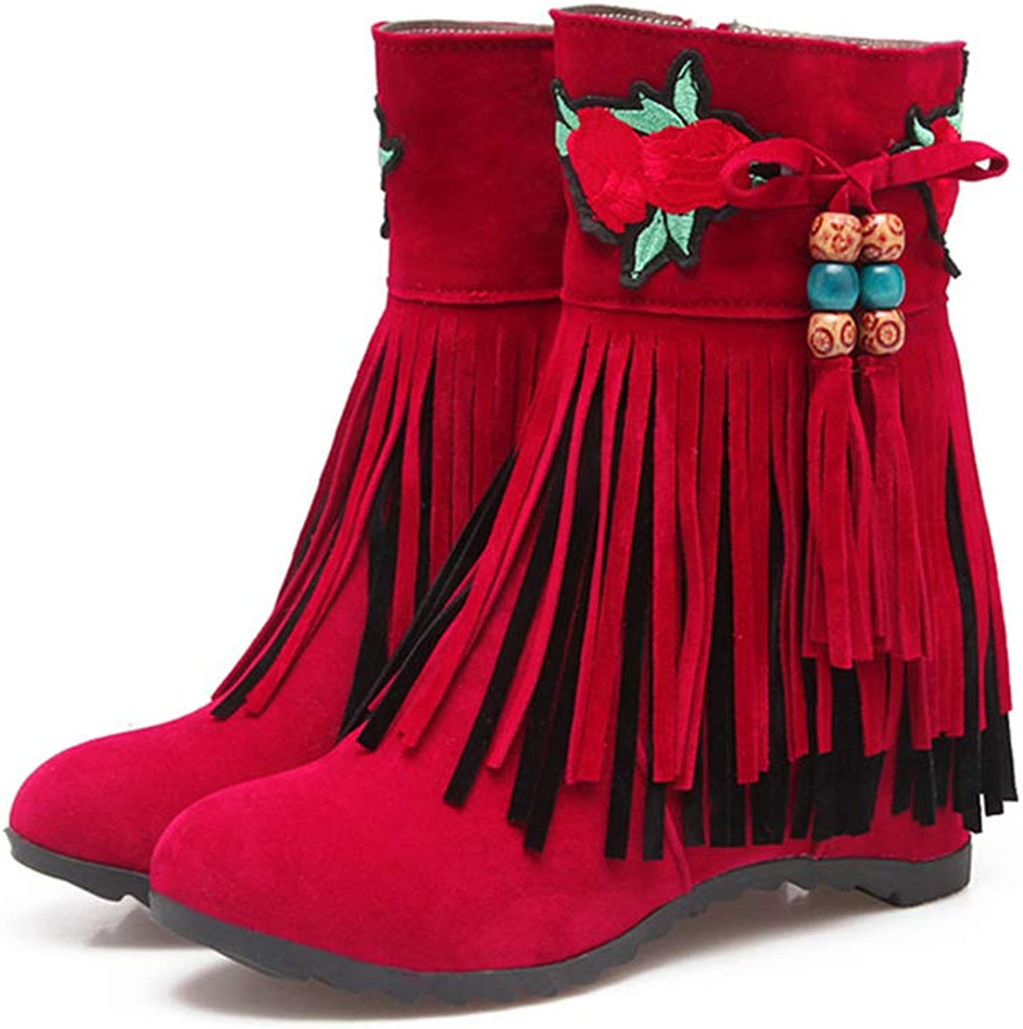 T-JULY Fashion Ankle Boots for Women Round Toe Fringe Height Increasing Autumn Winter Boots Ladies shoes