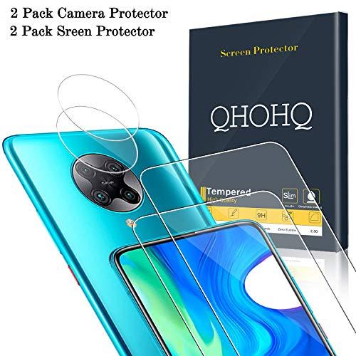QHOHQ 2 Piezas Protector de Pantalla para Xiaomi Poco F2 Pro con 2 Piezas Protector de Lente de Cámara, Cristal Templado Membrana, [9H Dureza] - HD - [Anti-Arañazos]
