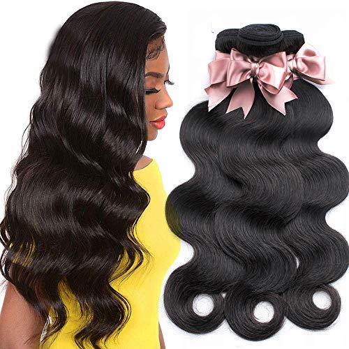Brazilian Virgin Body Wave Hair 3 Bundles (16 18 20, 300g/10.5OZ, Natural Black) 100% Unprocessed Brazilian Body Wave Virgin Human Hair Extensions Body Wave