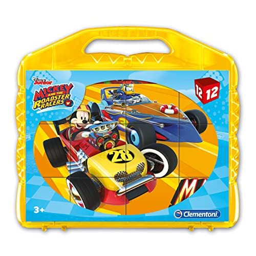 Clementoni Mickey Roadster Racers Puzzle Cubi, 12 Pezzi, 41183