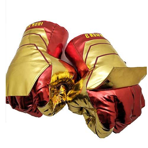U/C Niños Spiderman Guantes de Boxeo Smash Hands Fists Iron Man Capitán América Cosplay Guantes de Entrenamiento de Boxeo de Felpa Suave Juguete de Regalo,Iron Man